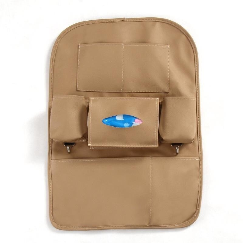 Multi-functional Car Seat Back Multi-pocket Leather Storage Bag Organizer Holder Bag - Brown - intl