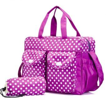 Multifunctional big capacity mommy and baby bag diaper bag 3 in 1 Purple (Intl)