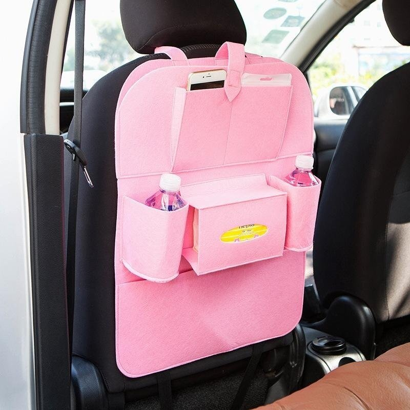 Multifunctional Felt Car Backseat Organizer Storage Bag for Pen/Bottle/Tissue Box/Book Etc - Pink - intl