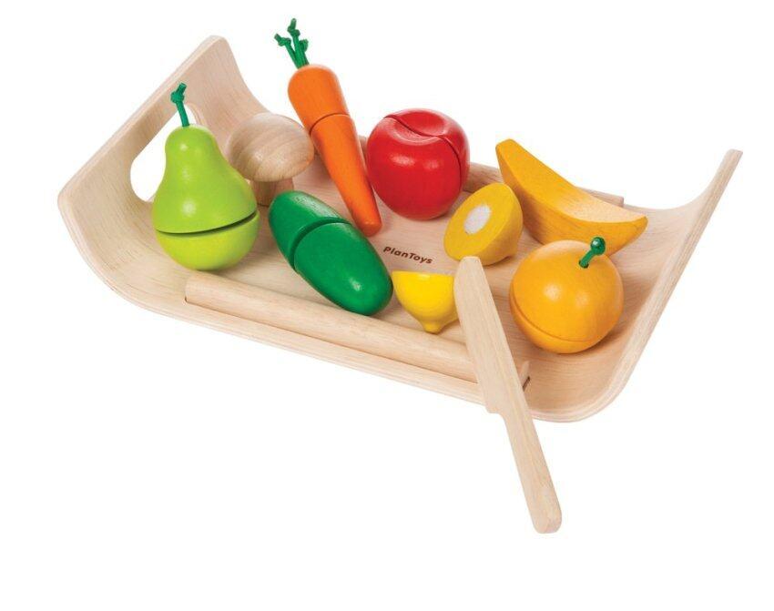 PlanToys ของเล่นไม้ Assorted Fruit & Vegetable ชุดหั่น ผัก และ ผลไม้