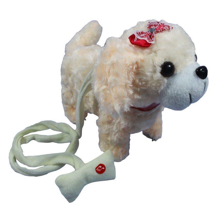 ตุ๊กตา สุนัข เต้น จูงเชือก มีเสียง สีครีม PNT002-1