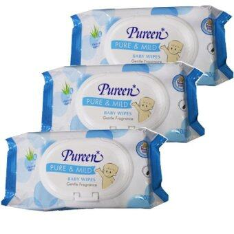 Pureen Baby Wipes Pure and Mild ผ้าเช็ดทำความสะอาดผิว เพียวรีน สูตรเพียว แอนด์ มายด์ ขนาด 80 แผ่น (3 แพ็ค)