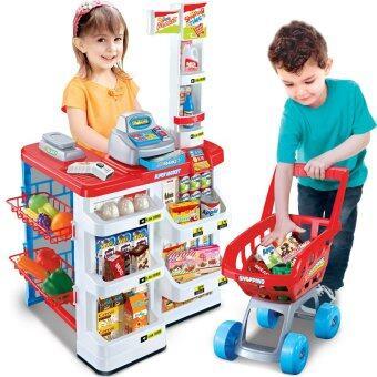 SK-Toys ชุดแคชเชียร์และรถเข็นซุปเปอร์มาร์เก็ต (สีแดง)