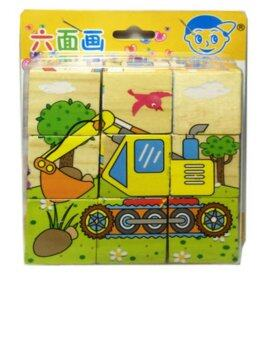 T.P.TOYS ของเล่นไม้ บล็อกไม้ลูกเต๋า ต่อได้ 6 ด้าน ลายยานพาหนะ