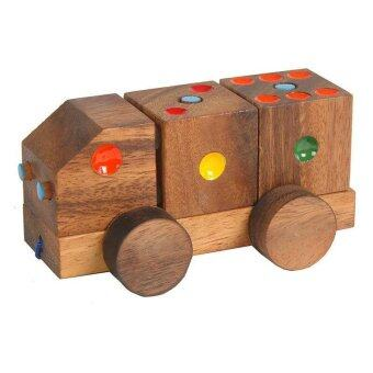 Wood Toy ของเล่นไม้ รถไฟลากแต้มสี ลูกเต๋า รุ่น T-00060