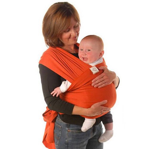 Yika Baby Sling Stretchy Breastfeeding Wrap Carrier for Birth -3 Yrs (Orange)