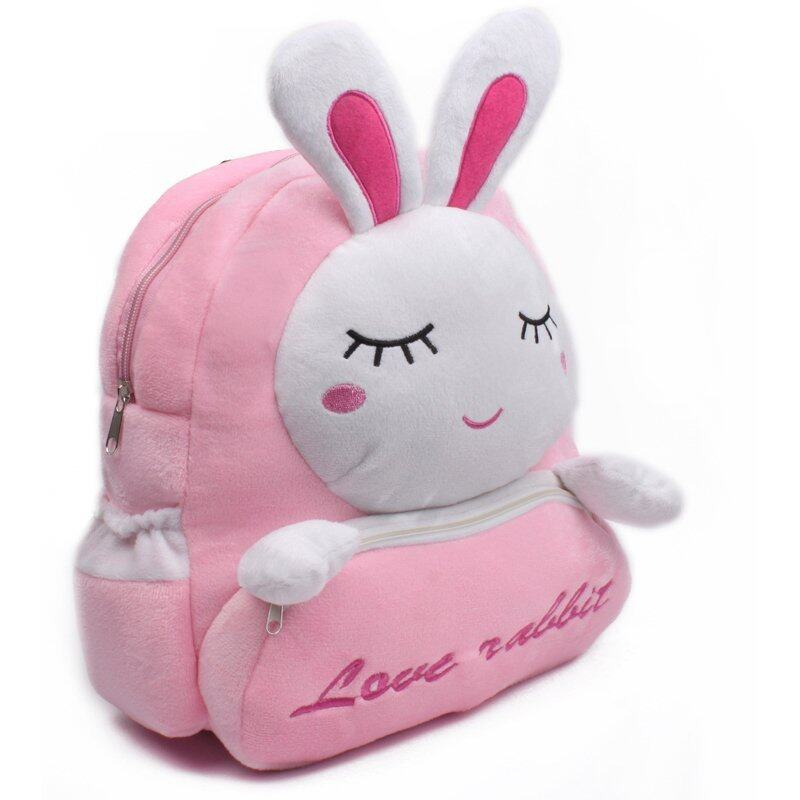 Zmomma Rabbit Kindergarten children plush backpack schoolbag(Pink)