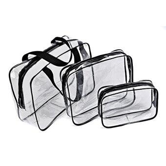 3 in 1 Transparent PVC Waterproof Makeup Bag Travel Toiletry Bag Black & Transparent
