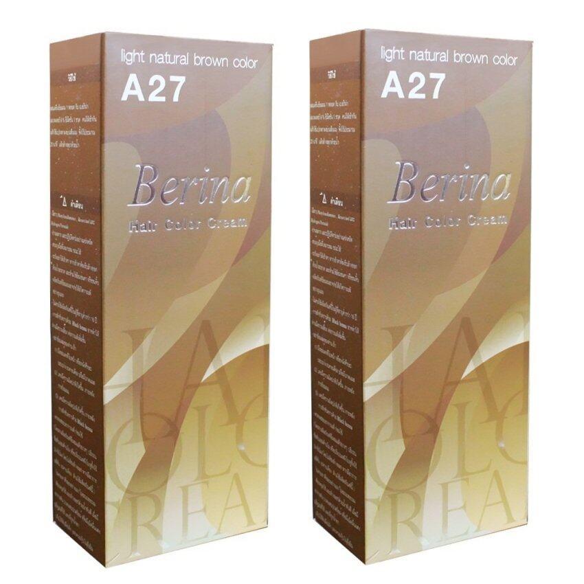 Berinaเบอริน่า ครีมเปลี่ยนสีผม สีน้ำตาลอ่อนธรรมชาติA27จำนวน2กล่อง ...