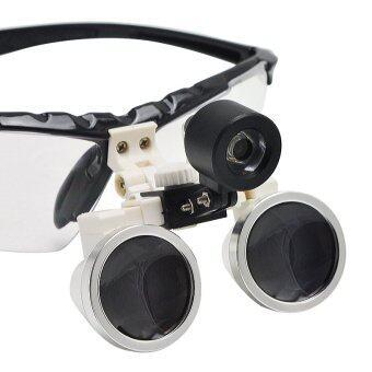 สีดำ 3.5 x 420มมแพทย์ศัลยกรรมทันตกรรมทันตแพทย์บัง Loupes แก้วเสียงแตรแสง+led โคมไฟหน้าแบบพกพา