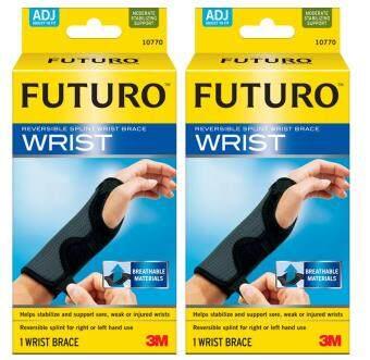 Futuro Wrist อุปกรณ์พยุงข้อมือ ฟูทูโร่ รุ่น 10770 ชนิดปรับกระชับได้ เสริมแถบเหล็ก 2 ชิ้น (สีดำ)