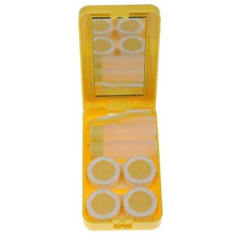 BolehDeals Yellow Contact Lens Care Kit Mirror 2 Bottle Saline Solution Traveling Set