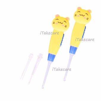 ไม้แคะหูมีไฟ 2 ชิ้น (สีเหลือง) ที่แคะหูเด็ก ที่แคะหูผู้ใหญ่ ที่แคะหูรูปการ์ตูน ลดอาการคันหู ลดขี้หูอุดตัน