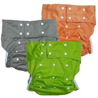 BABYKIDS95 กางเกงผ้าอ้อมผู้ใหญ่ ฟรีไซส์ เซ็ท 3 ตัว (สีเขียว/เทา/ส้ม)