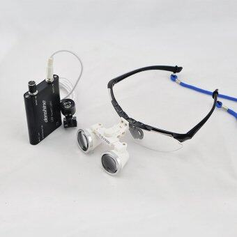 Black 2.5X 320mm Dentist Dental Surgical Medical Binocular Loupes Optical Glass Loupe + Portable LED Head Light Lamp