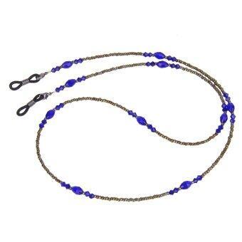 Adjustable Bohemian Artifical Crystal Bead Eyeglass Cord Holder Leash Blue