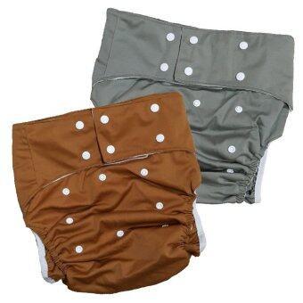 BABYKIDS95 กางเกงผ้าอ้อมผู้ใหญ่ ฟรีไซส์ เซ็ท2ตัว (สีน้ำตาล/เทา)