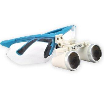 Blue 3.5X 420mm Dentist Dental Surgical Medical Binocular Loupes Optical Glass Loupe