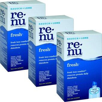 Renu Fresh Multi Purpose Solution 120 ml (3ขวด) รีนิว เฟรช น้ำยาล้างคอนแทคเลนส์