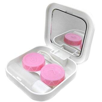 Cocotina Portable Travel Contact Lens Case Kit Set Storage Box Container w/Mirror Box Set - White - intl