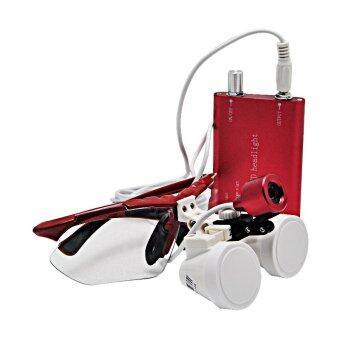 RED 2.5X 420mm Dentist Dental Surgical Medical Binocular Loupes Optical Glass Loupe + Portable LED Head Light Lamp