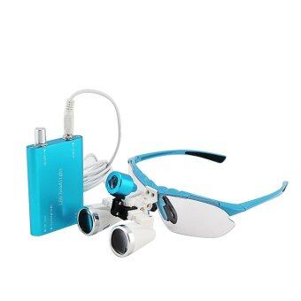 Blue 3.5X 320mm Dentist Dental Surgical Medical Binocular Loupes Optical Glass Loupe + Portable LED Head Light Lamp