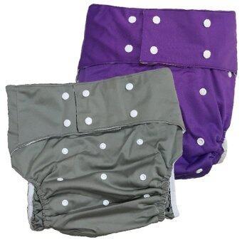 BABYKIDS95 กางเกงผ้าอ้อมผู้ใหญ่ ซักได้ กันน้ำ ฟรีไซส์ปรับขนาดได้ เซ็ท2ตัว (สีเทา/ม่วง)