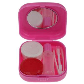 BolehDeals Pocket Size Travel Kit Contact Lens Case Storage Holder Container Rose Red