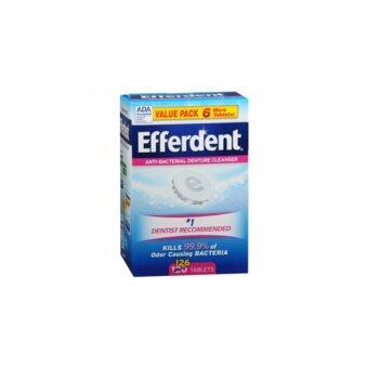 เม็ดฟู่แช่ทำความสะอาดฟันปลอม Efferdent Anti-Bacterial Denture Cleanser Tablets