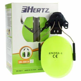 HERTZ EM5001D (1คู่) ที่ครอบหูลดเสียง แบบต่อกับหมวกเซฟตี้ สีเขียวสะท้อนแสง