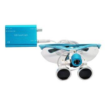 Blue 2.5X 420mm Dentist Dental Surgical Medical Binocular Loupes Optical Glass Loupe + Portable LED Head Light Lamp