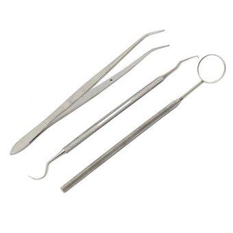 Bluelans Handle Dental Tool Pick Scaler Mirror Set Stainless Steel Teeth Clean 3 Pcs
