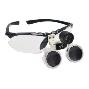 Black 3.5X 320mm Dentist Dental Surgical Medical Binocular Loupes Optical Glass Loupe + Portable LED Head Light Lamp
