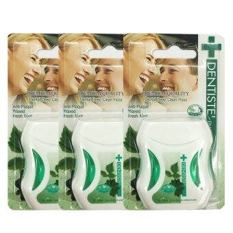Dentiste' Plus white Premium Anti-Plaque PTFE floss fresh mint ไหมขัดฟันเดนทิสเต้ ขนาด50m./อัน (3 อัน)