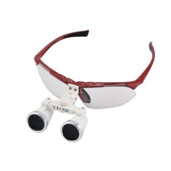RED 3.5X 320mm Dentist Dental Surgical Medical Binocular Loupes Optical Glass Loupe