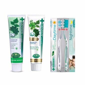 Dentiste' Plus White Toothpaste 100g. (TUBE)+ Dentiste' Premium Care Toothpaste 100g. (TUBE)+Dentiste' Daytime&Nighttime Toothbrush