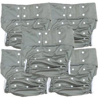 BABYKIDS95 กางเกงผ้าอ้อมผู้ใหญ่ ซักได้ กันน้ำ ฟรีไซส์ปรับขนาดได้ เซ็ท 5 ตัว (สีเทา)