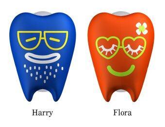 Flipper ที่ครอบแปรงสีฟันรุ่น แฮรี่ & ฟลอร่า สีน้ำเงิน/ส้ม (2 ชิ้น /แพค)