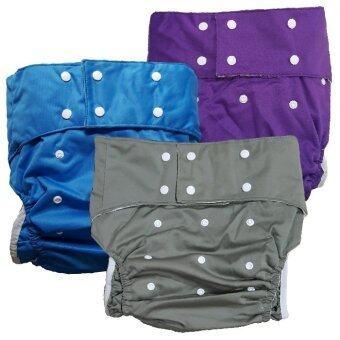 BABYKIDS95 กางเกงผ้าอ้อมผู้ใหญ่ ซักได้ กันน้ำ ฟรีไซส์ปรับขนาดได้ เซ็ท 3 ตัว (สีเทา/น้ำเงิน/ม่วง)