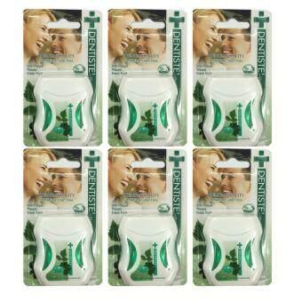 Dentiste' Plus white Premium Anti-Plaque PTFE floss fresh mint ไหมขัดฟันเดนทิสเต้ ขนาด50m./อัน (6 อัน)