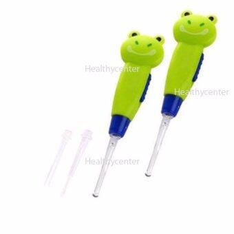 Healthycenter ไม้แคะหูมีไฟ 2 ชิ้น (สีเขียว) ที่แคะหูเด็ก ที่แคะหูผู้ใหญ่ ที่แคะหูรูปการ์ตูน แก้อาการคันหู ลดขี้หูอุดตัน