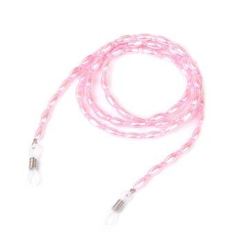Artifical Imitation Pearl Bead Eyeglass Chain Cord Necklace Pink