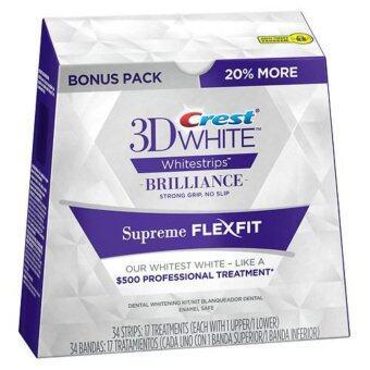 Crest 3D White Supreme FlexFit Whitestrips, (17 ซอง) แผ่นฟอกฟันขาวด้วยตัวเอง