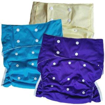 BABYKIDS95 กางเกงผ้าอ้อมผู้ใหญ่ ซักได้ กันน้ำ ขอบขา 2ชั้น ปรับขนาดได้สำหรับรอบเอว 23-36 นิ้ว เซ็ท 3 ตัวพร้อมแผ่นซับ (สีม่วงอมน้ำเงิน/ฟ้า/เหลือง)