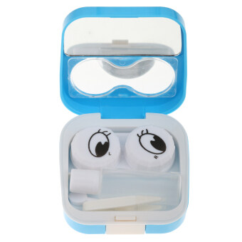 BolehDeals Smile Face Contact Lens Kit Case Pocket Size Storage Holder Container Blue