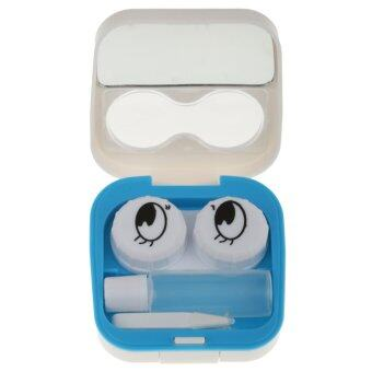 BolehDeals Smile Face Contact Lens Kit Case Pocket Size Storage Holder Container White