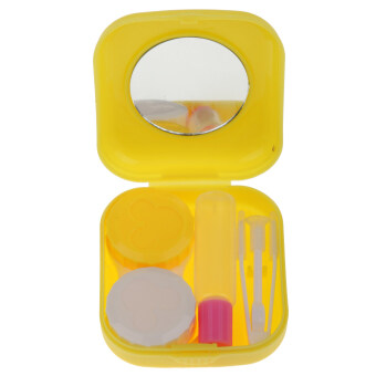 BolehDeals Pocket Size Travel Kit Contact Lens Case Storage Holder Container Yellow
