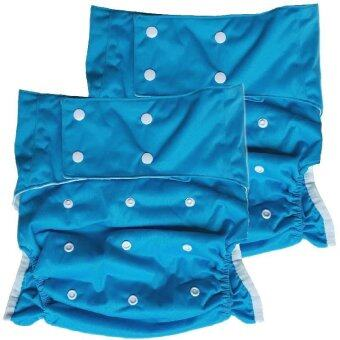 BABYKIDS95 กางเกงผ้าอ้อมผู้ใหญ่ ซักได้ กันน้ำ ขอบขา 2ชั้น ปรับขนาดได้สำหรับรอบเอว 23-36 นิ้ว เซ็ท 2 ตัวพร้อมแผ่นซับ (สีฟ้า)