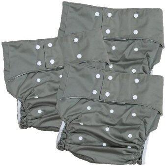 BABYKIDS95 กางเกงผ้าอ้อมผู้ใหญ่ ซักได้ กันน้ำ ฟรีไซส์ปรับขนาดได้ เซ็ท 3 ตัว (สีเทา)