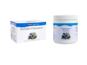 Unicity Chlorophyll Powder คลอโรฟิลล์ยูนิซิตี้ 1 กระปุก + Unicity Nature's tea ชาเนเจอร์ที 1 กล่อง